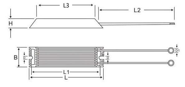 白色梯形铝壳电阻规格尺寸